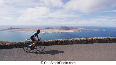 cyclisme, vélo, sports, faire vélo, cycliste, océan, route, dehors, athlète