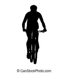 cyclisme, vecteur, silhouette, vue, devant, montagne