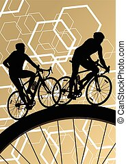 Cyclist active bicycle rider in abstract sport landscape background illustration