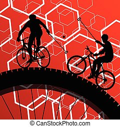 Cyclist active man bicycle rider in abstract sport landscape background illustration