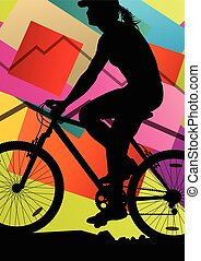 Cyclist active woman bicycle rider in abstract sport landscape background illustration