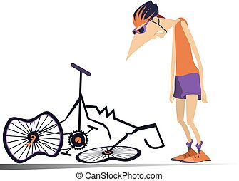 Cyclist and a broken bike isolated illustration - Sad...