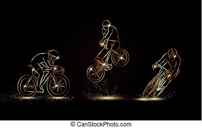 Cyclist and bicycle sport set. Golden linear Cycling race illustration for sport banner, background and flyer.
