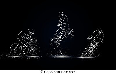 Cyclist and bicycle sport set. Metallic linear Cycling race illustration for sport banner, background and flyer.