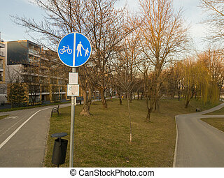 Cyclist and pedestrian road sign