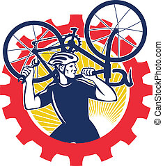 Cyclist Bicycle Mechanic Carrying Bike Sprocket Retro - ...