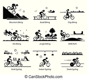 Cyclist cycling and riding bicycle in different places.