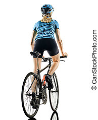 cyclist cycling riding bicycle woman isolated white background