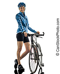 cyclist cycling riding bicycle woman isolated white background standing smile