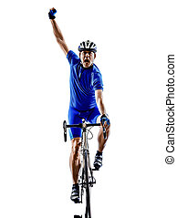 cyclist cycling road bicycle celebrating silhouette