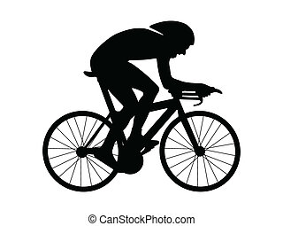 Cyclist silhouette isolated on a white background. Vector illustration.