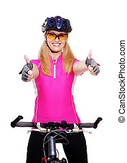 cyclist girl holding the bicycle closeup showing thumbs up