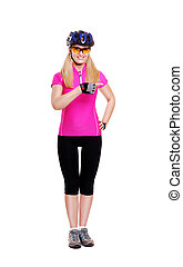cyclist girl pointing to the copy space area full length white background