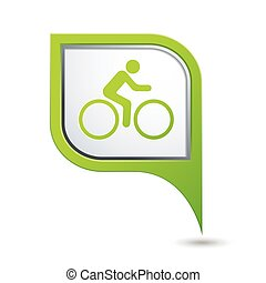 Cyclist icon on green map pointer