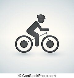 Cyclist icon, vector simple cycling sign.