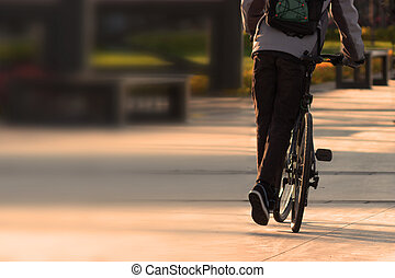cyclist in a park