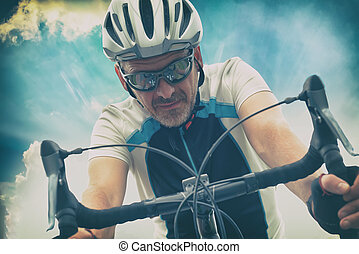 Cyclist in helmet outdoors