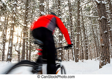 Cyclist in Red Riding Mountain Bike in Beautiful Winter Forest. Photo with Motion Blur.