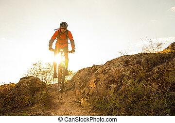 Cyclist in Red Riding the Bike on Autumn Rocky Trail at Sunset. Extreme Sport and Enduro Biking Concept.