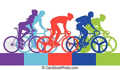 Cyclist in the bicycle race Vector and Illustration