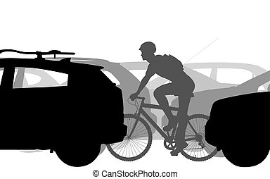 Cyclist in traffic - Editable vector silhouettes of a man...