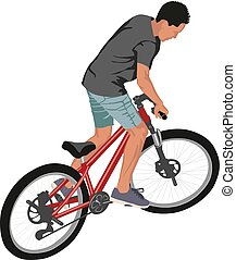 cyclist - isolated male doing bike trick