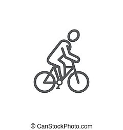 Cyclist line icon on white background