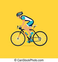 cyclist male on a yellow background. vector illustration.