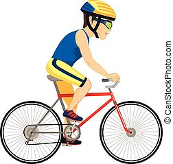 Young professional man cyclist cycling happy riding bike