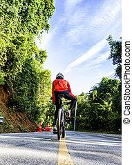 Cyclist on a race bike