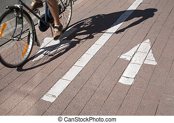Cyclist on Bike Lane