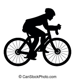 Cyclist on bike silhouette icon black color illustration flat style simple image