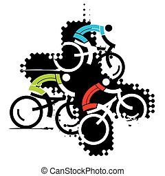 Cyclist on the grunge background