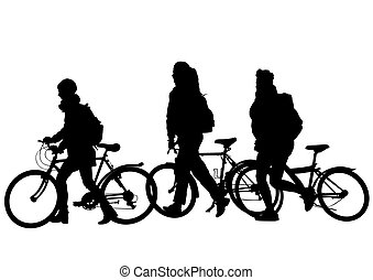 Cyclist people on white three