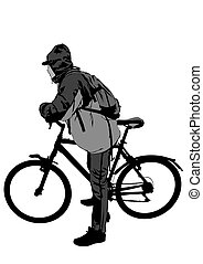 Cyclist people on white two