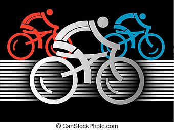 Cyclist racers - Three racing cyclists. Colorful stylized ...