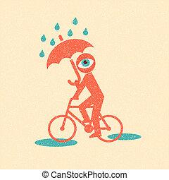 cyclist., retro, affiche