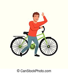 Cyclist rider man with bike, active lifestyle concept vector Illustrations on a white background