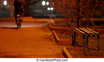 Cyclist riding a bike along empty dark footpath at night, street lights illuminate a lonely alley in the fall.
