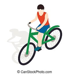 Cyclist riding a bike icon, isometric 3d style - Cyclist...