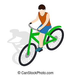 Cyclist riding a bike icon, isometric 3d style - icon in...