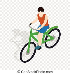 Cyclist riding a bike isometric icon 3d on a transparent...