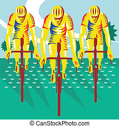 Illustration of a cyclist riding racing bicycle cycling front view done in retro woodcut style.