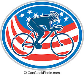 Cyclist Riding Mountain Bike American Flag Oval -...