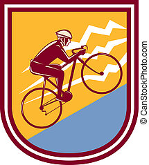 Illustration of a cyclist biking riding mountain bike going uphill mountain set inside shield crest done in retro style.