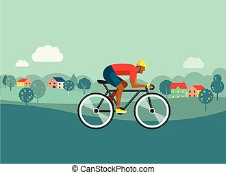 cyclist riding on bicycle on countryside, vector illustration and poster