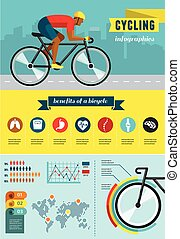 cyclist riding on bicycle, vector infographics, poster, icon set