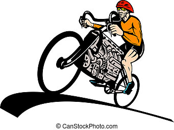 Cyclist riding racing bicycle with v8 car engine -...