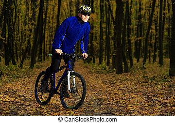 Cyclist Riding the Bike