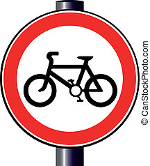 A large round red traffic sign displaying a bicycle